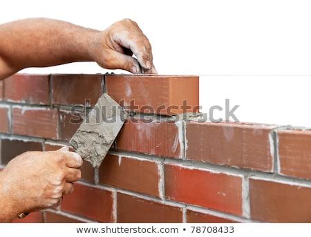 Adam Bina tuğla duvar ev duvar sanayi Stok fotoğraf © photography33