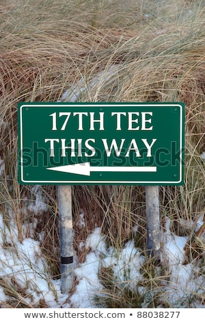 assinar · campo · de · golfe · neve · coberto · ligações - foto stock © morrbyte