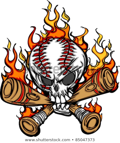 Softball Baseball Skull And Bats Flaming Cartoon Image Stock foto © ChromaCo