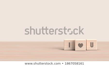 Stockfoto: Liefde · 3D · houten · zwarte · brieven