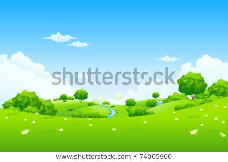 Landscape - green hill with tree mountain and cloudscape Stock photo © WaD