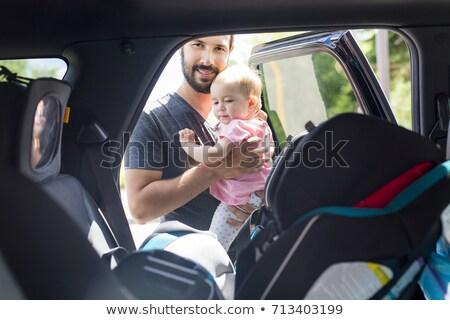 autó · biztonság · boldog · mosolyog · anya · baba - stock fotó © ozgur