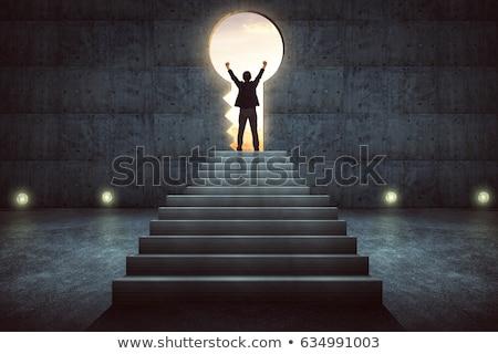 Kulcs siker vonzó nő visel öltöny tart Stock fotó © jayfish