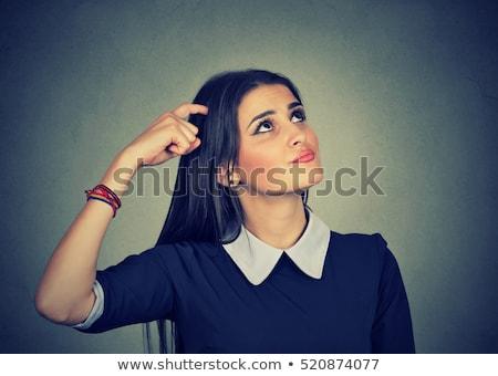 jonge · vrouw · kijken · shorts · witte · blouse - stockfoto © acidgrey
