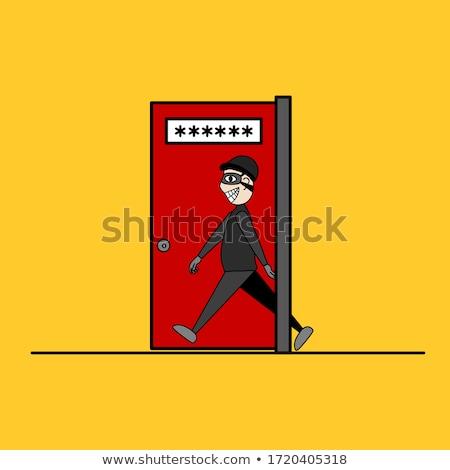 Delincuencia puerta abierta ordenador robo manos Foto stock © iqoncept