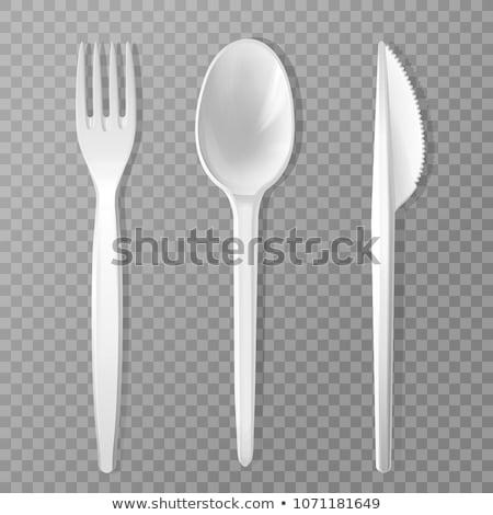 Сток-фото: пластиковых · изолированный · белый · фон · кухне · пикника