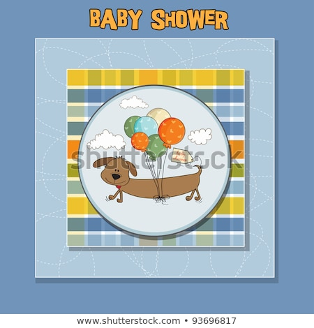 baby shower card with long dog and balloons Stock photo © balasoiu