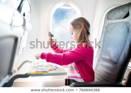 Stockfoto: Vliegen · gelukkig · gezin · puzzel · hemel · glimlach · gras