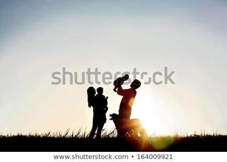 silhueta · família · quatro · mão · bebê · grama - foto stock © Paha_L