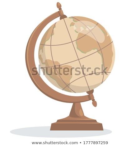Сток-фото: антикварная · глобусы · два · карта