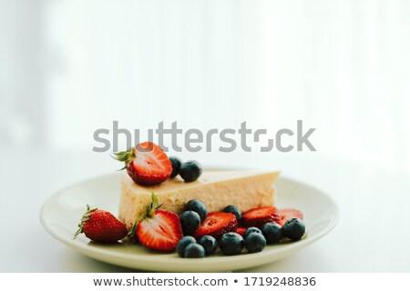 kek · beyaz · taze · yaban · mersini · ahşap · masa - stok fotoğraf © doupix