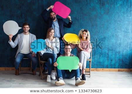Adam konuşma balonu küçük beyaz dikdörtgen biçiminde Stok fotoğraf © hd_premium_shots