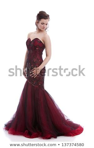 черную · женщину · вечер · платье · красивая · женщина · синий - Сток-фото © fantasticrabbit