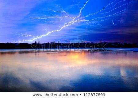 Yıldırım üzerinde göl şehir güneş doğa Stok fotoğraf © Anettphoto