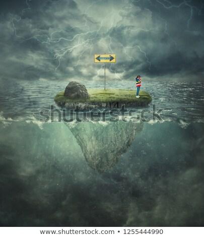 Młoda dziewczyna burza z piorunami pioruna głowy ilustracja działalności Zdjęcia stock © ra2studio