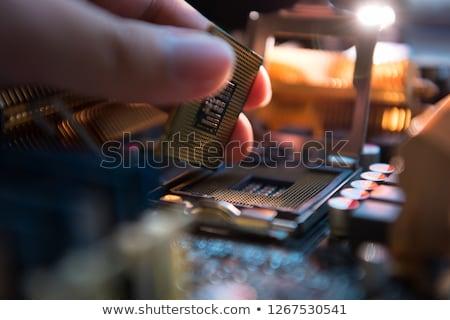 Alaplap foglalat elektronikus berendezés közelkép számítógép Stock fotó © prajit48