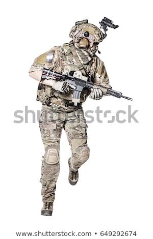 soldados · atacar · quebrar · tijolos · parede · cidade - foto stock © lenm