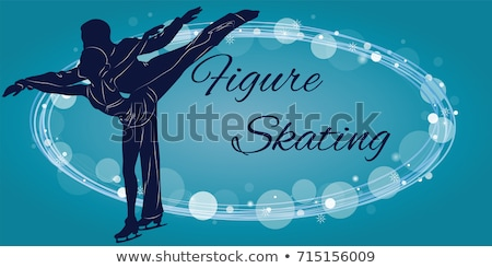 couple figure skating colored silhouettes vector illustration stock photo © leonido