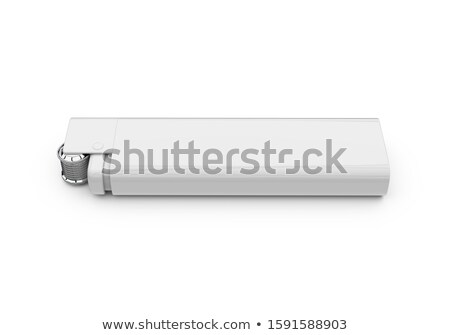 Silver metal lighters on white background with blue flame. Stock photo © pxhidalgo