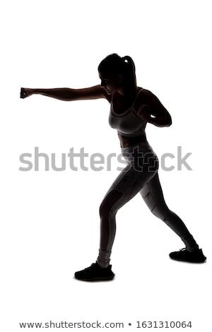 Jonge vrouw vechten houding witte vrouw sport Stockfoto © pxhidalgo