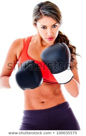 Hispanos agresivo mujer guantes de boxeo cara deporte Foto stock © pxhidalgo