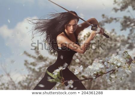 Stockfoto: Vrouw · zwaard · boeg · mode · schoonheid · portret