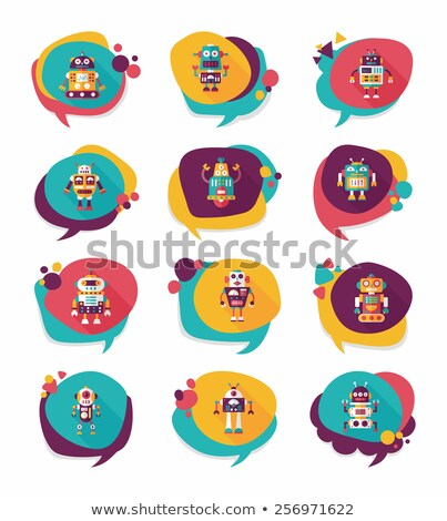 cute android robot with speech bubbles stock photo © kirill_m