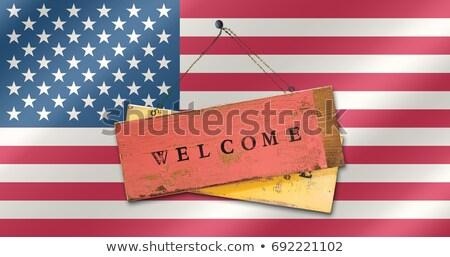 quadro · de · avisos · bem-vindo · canárias · nascer · do · sol · verde - foto stock © tashatuvango