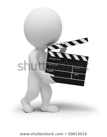 3d small people   director with a clapper stock photo © anatolym
