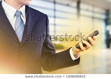 üzletember · rajz · grafikon · felfelé · ceruza · kék - stock fotó © stevanovicigor