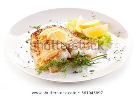 fish fillet and lemon stock photo © m-studio