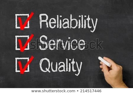 Tableau noir liste fiabilité Ouvrir la qualité affaires Photo stock © Zerbor