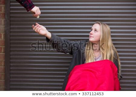 Stock fotó: Tinilány · alszik · utca · pénz · nő · lány