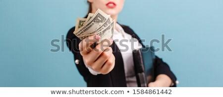 Gyönyörű üzletasszonyok öltöny nyújtott ajkak izolált Stock fotó © cherezoff