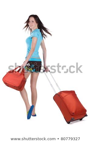 töprengő · üzletasszony · utazás · táska · vakáció · álmodozás - stock fotó © feelphotoart