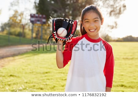 Sport lány baseball kesztyű teljes alakos portré távolkeleti Stock fotó © elwynn