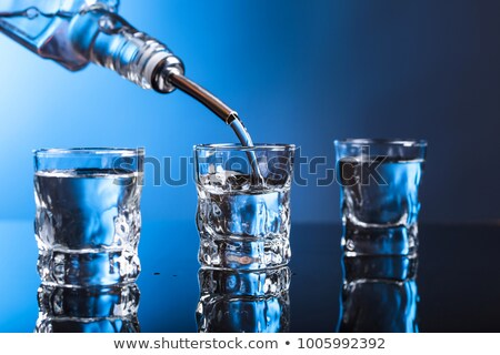 Liquor bottle and schnapps glass filled with clear liquid Stock photo © Zerbor