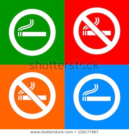 Dohányozni tilos felirat zöld vektor ikon gomb Stock fotó © rizwanali3d