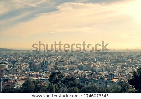 Panoráma Barcelona naplemente épület város tenger Stock fotó © elxeneize