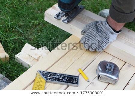Main gant travail électriques vu isolé Photo stock © OleksandrO