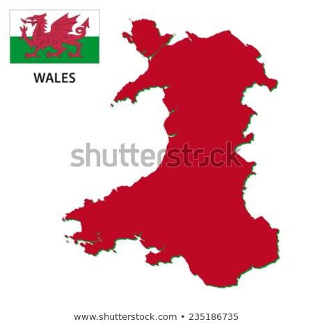 Gomb szimbólum térkép Wales zászló fehér Stock fotó © mayboro1964