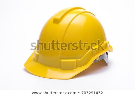 Bouw helm witte werk achtergrond baan Stockfoto © Valeriy