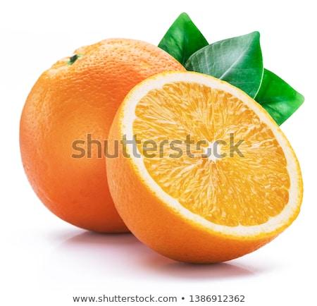 オレンジ · オレンジ · 緑色の葉 · 白 · 果物 - ストックフォト © silroby
