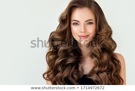 Barna hajú gyönyörű fiatal fehér csipke blúz Stock fotó © disorderly