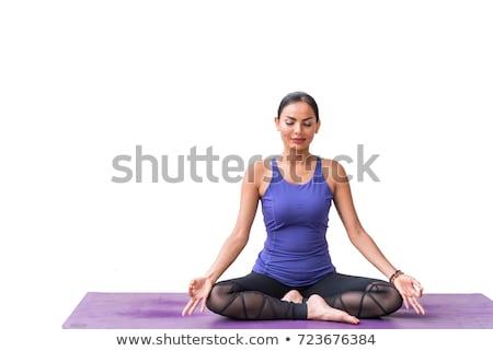 Huzurlu kadın beyaz oturma lotus poz Stok fotoğraf © wavebreak_media