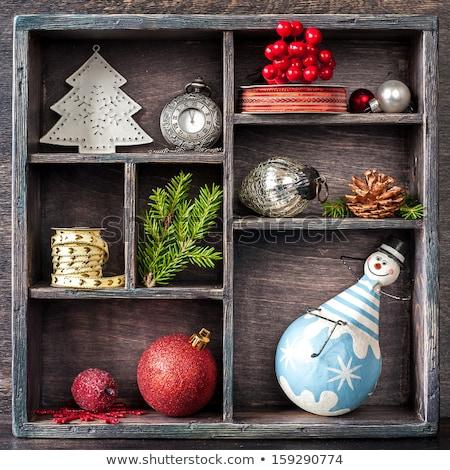 Retro clock and christmas balls and toys Stock photo © Mikko