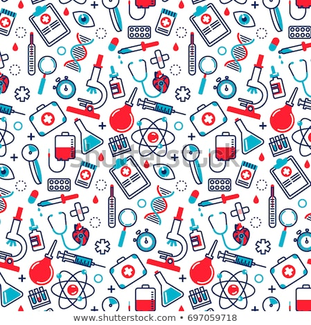 flat seamless pattern with medicine icons stock photo © vectorikart