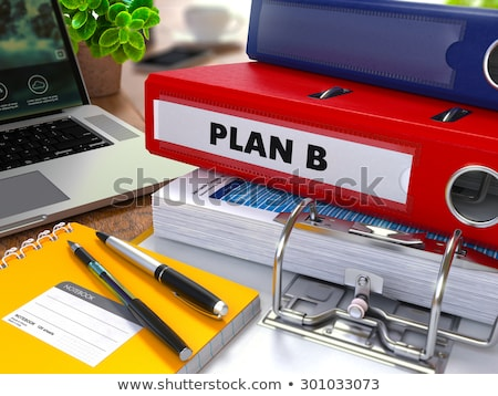 Piros gyűrű felirat b-terv dolgozik asztal Stock fotó © tashatuvango