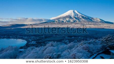 Mount Fuji jezioro zimą niebo wody Zdjęcia stock © vichie81