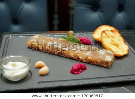 frito · patatas · azul · placa · rojo · blanco - foto stock © joker